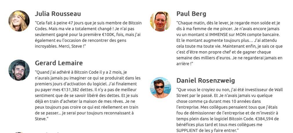 Bitcoin Code succès