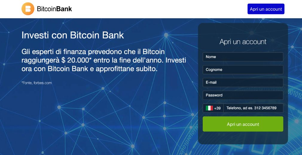Bitcoin Bank Truffa