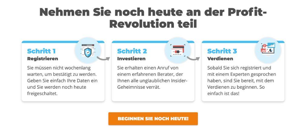 Profit Revolution Konto Registrierung