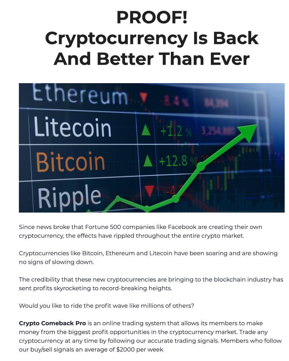 Crypto Comeback Pro éxito